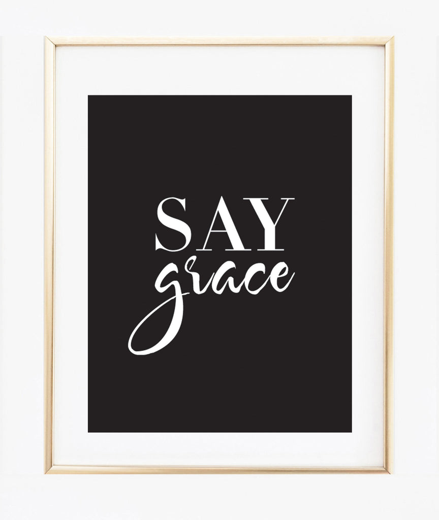 Say Grace (light taupe) print