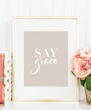 Say Grace print (Grey)