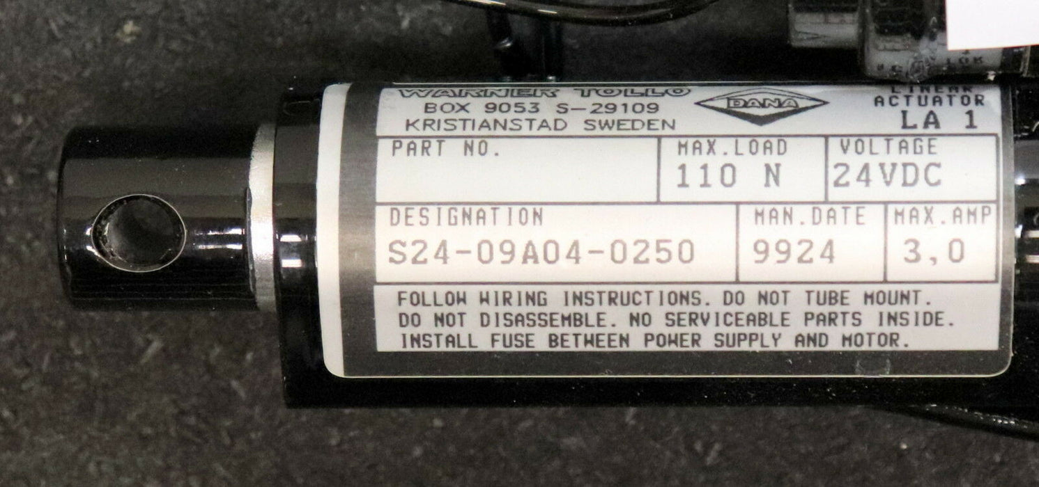 DANA WARNER TOLLO Linear Actuator LA1 S24-09A04-0250 max. 3A Voltage 24VDC