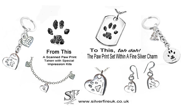 Pet Paw Prints In Silver Jewellery, Personalised Jewellery UK
