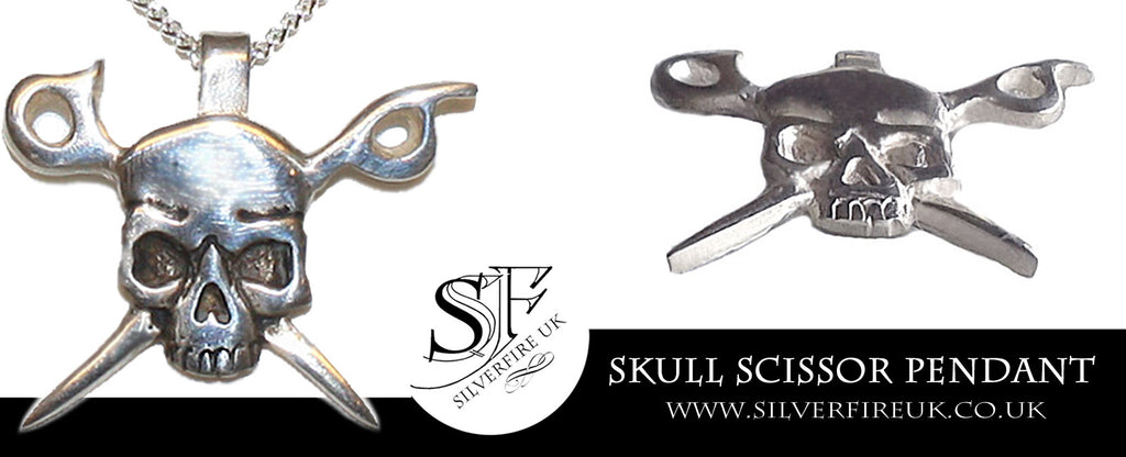 Skull Scissor Pendant, Custom Made Skull Jewelry