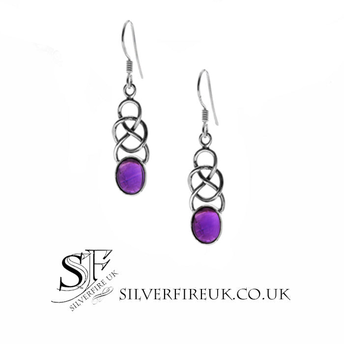 amethyst celtic earrings