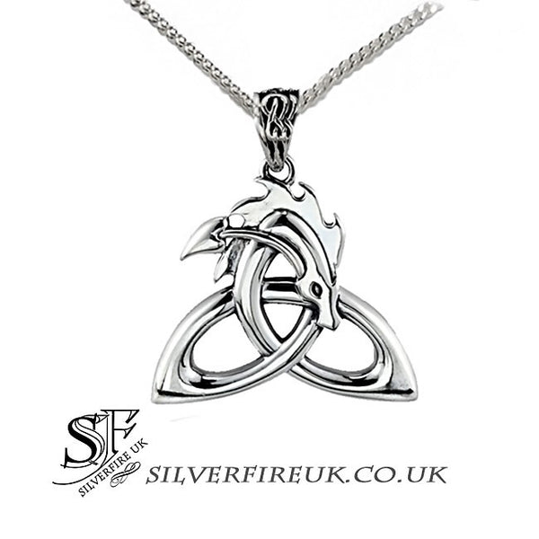 Dragon Necklace Celtic Dragon Pendant Silver Ouroboros