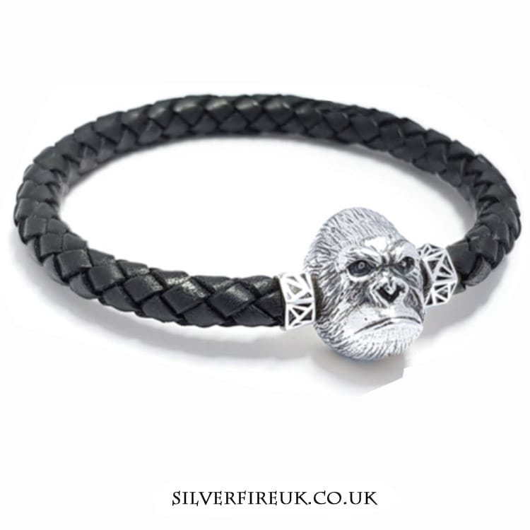 NEW: Mens Gorilla Leather Bracelet (sterling silver & leather)