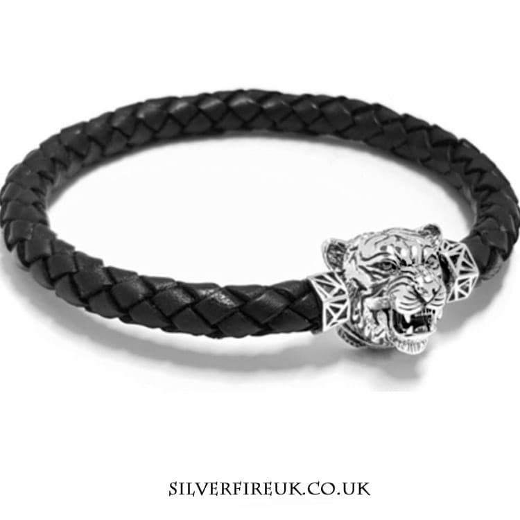 NEW: Mens Tiger Bracelet (leather & sterling silver)