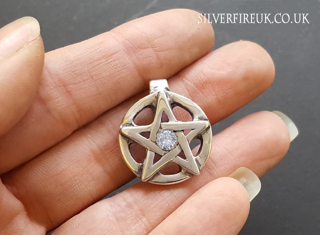 Moissanite Diamond Pentagram Pendant, pagan