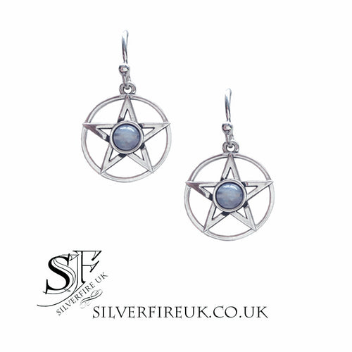 rainbow moonstone pentagram earrings
