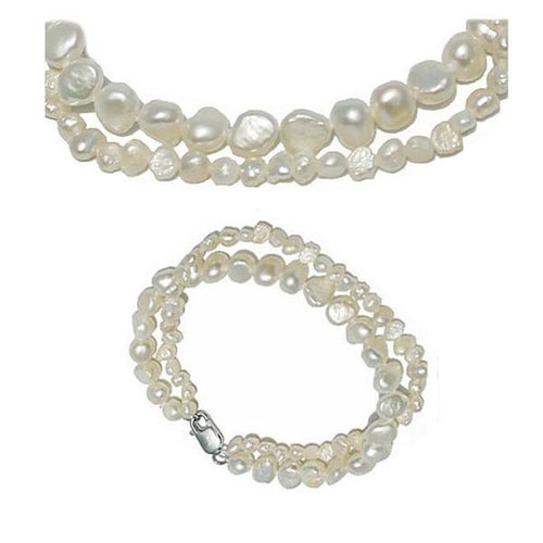Baroque Pearl Jewellery SET (necklace & bracelet) - CLEARANCE