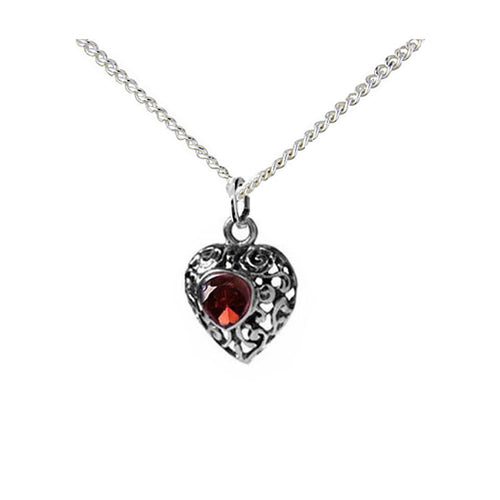 Small Garnet Heart Necklace - CLEARANCE