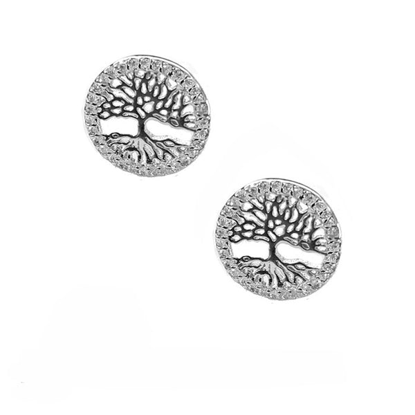 tree of life circle earrings with crystal zirconia