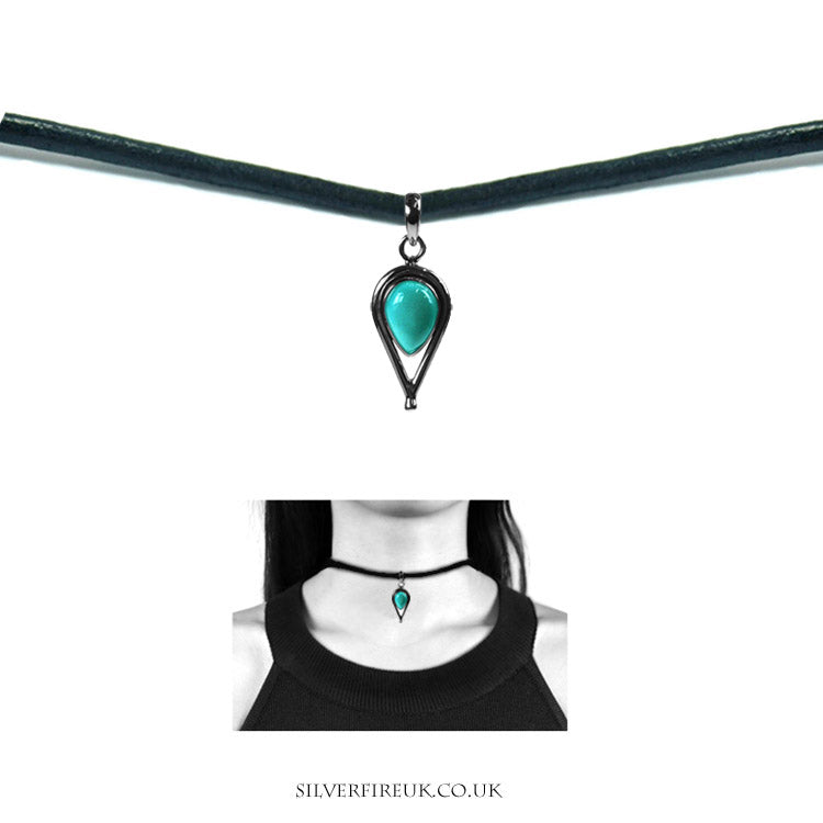 NEW: Turquoise Inverted Teardrop LEATHER Choker