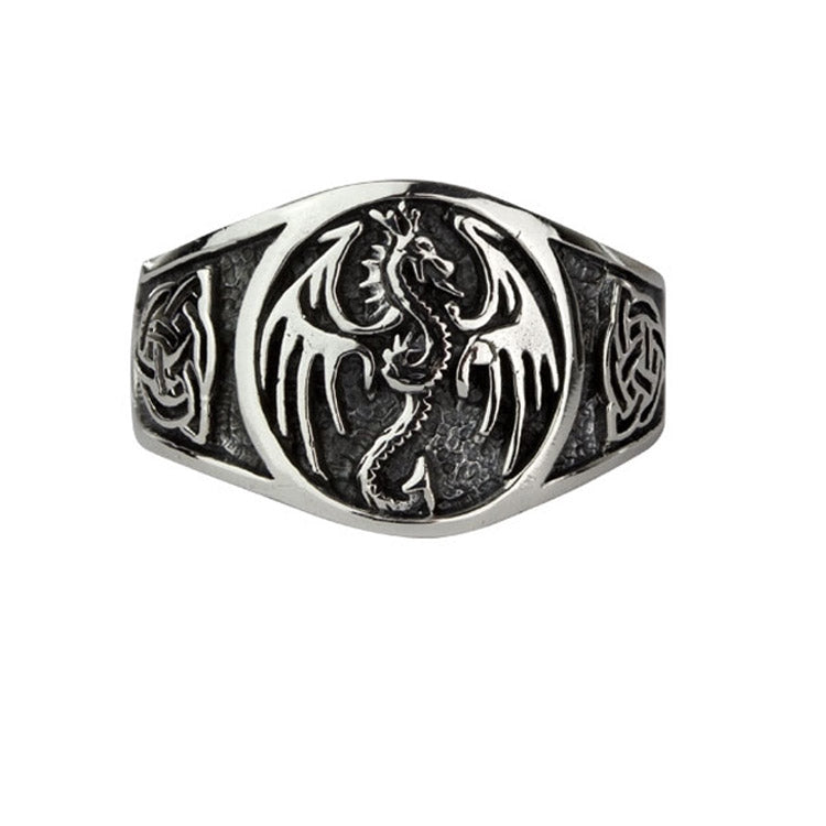 Mens Celtic Dragon Ring, Wyvern Dragon