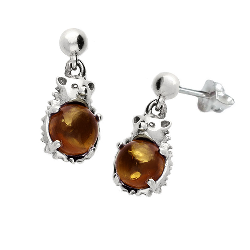 amber hedgehog earrings