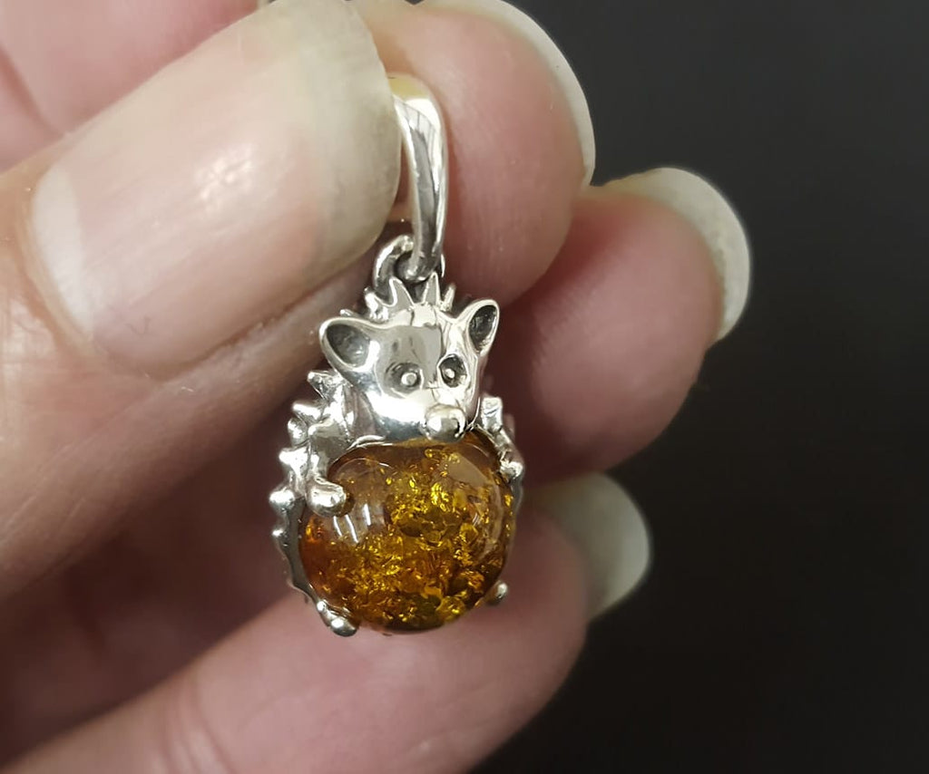hedgehog amber necklace
