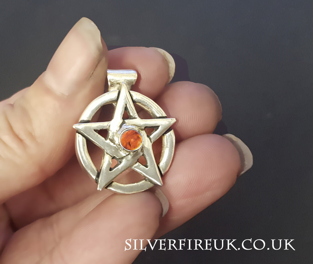 Amber pentagram necklace