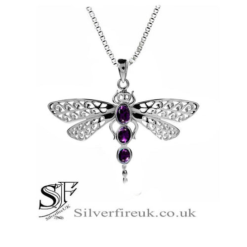 Dragonfly Necklace Amethyst, Dragonfly jewellery