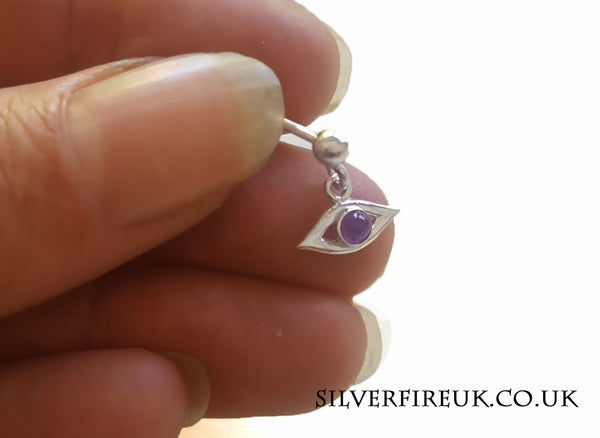 Evil Eye Amethyst Stud Earrings