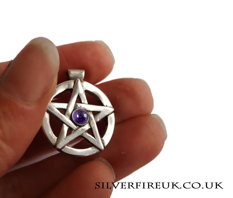 Pentacle Pendant with Amethyst Gemstone