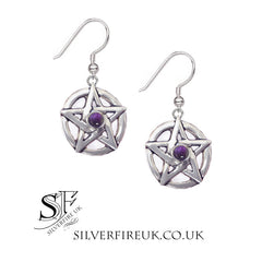pentagram earrings with amethyst