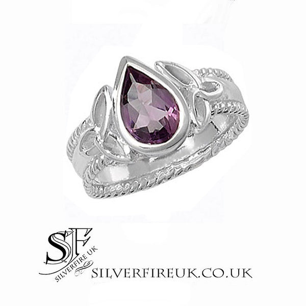 Amethyst Trinity Celtic Ring