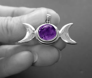 Amethyst triple moon necklace
