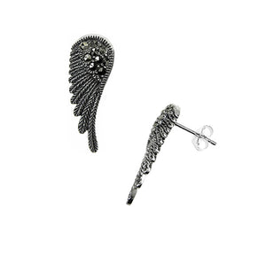 NEW: Angel Wing Earrings With Marcasite Gemstones