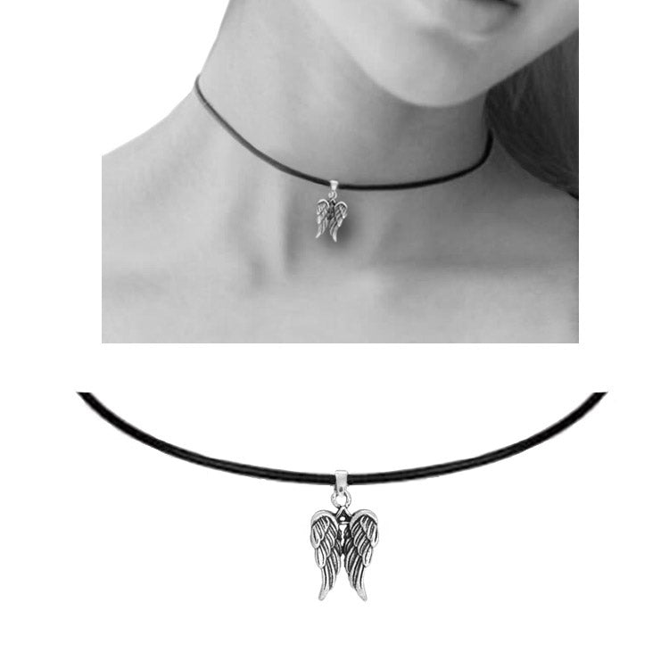 angel wing leather choker
