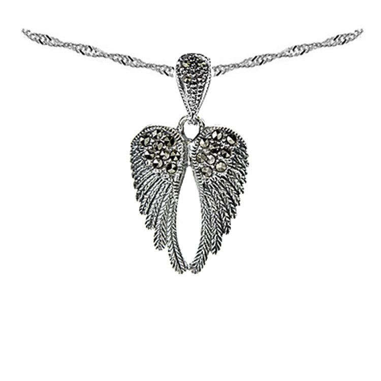 NEW: Angel Wing Necklace With Marcasite Gemstones