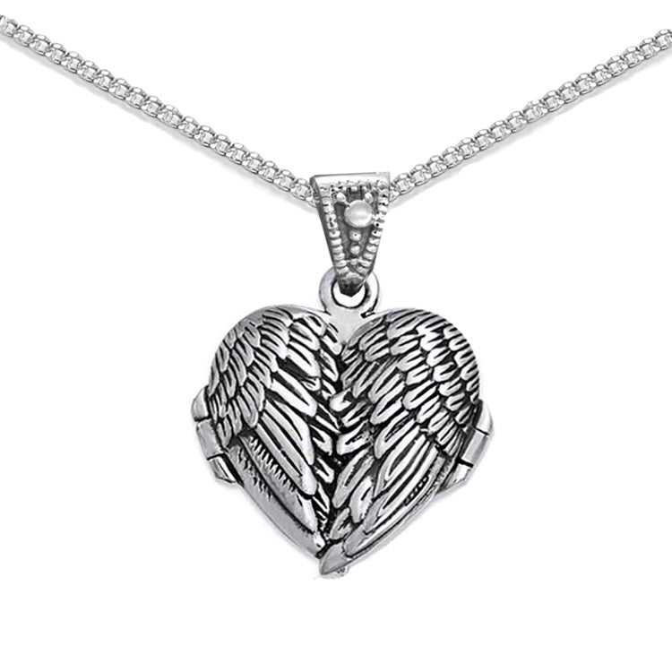 angel wing locket, pill box necklace