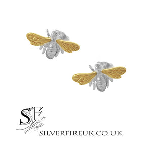 Bee Earrings, Silver with Gold