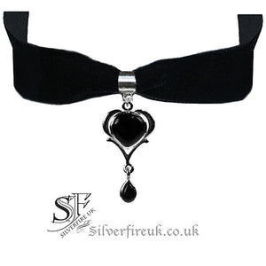 Black Velvet Choker Necklace, Gothic Heart Choker