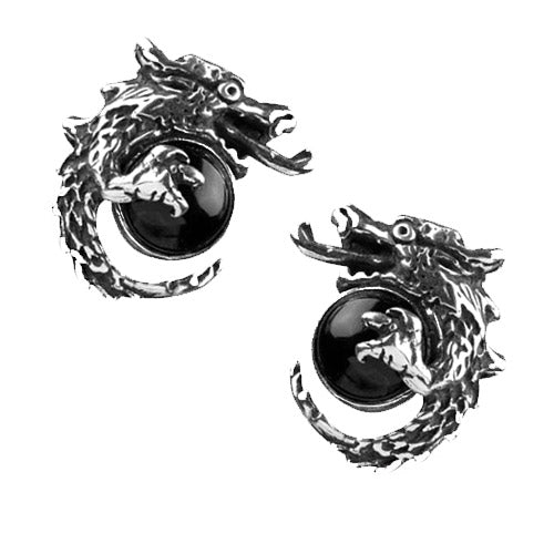 black orb dragon earrings