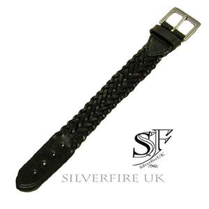 Leather Weave Buckle Bracelet - adjustable size: Choose Black Or Dark Brown