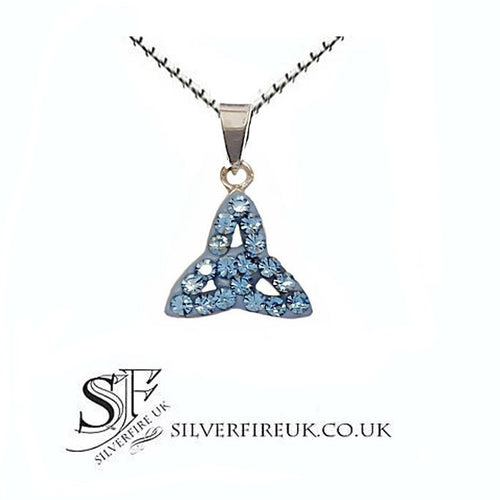 blue crystal trinity knot necklace