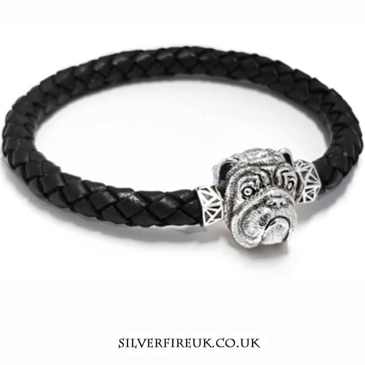 Bulldog leather bracelet