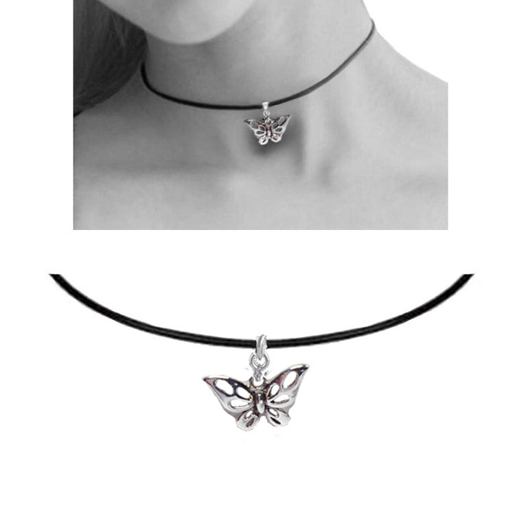 butterfly leather choker