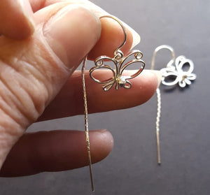 threader earrings butterfly