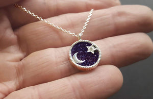 celestial necklace moon and star