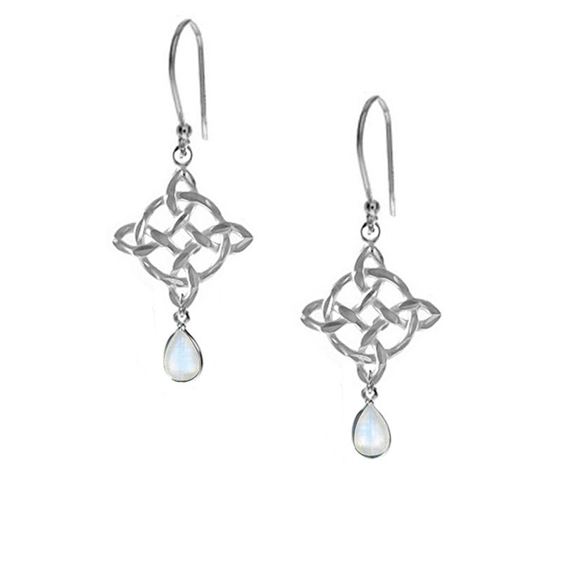 celtic earrings moonstone teardrops