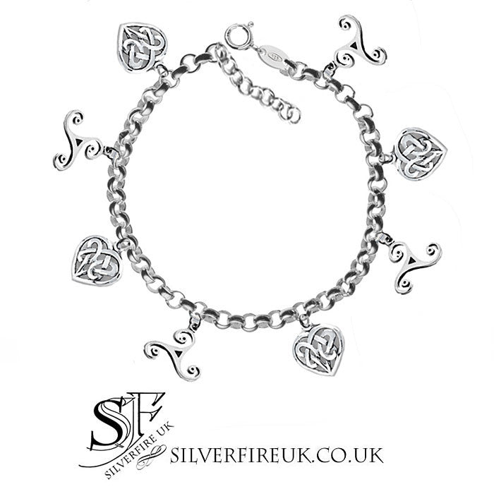 Celtic Love Heart and Triskele Charm Bracelet