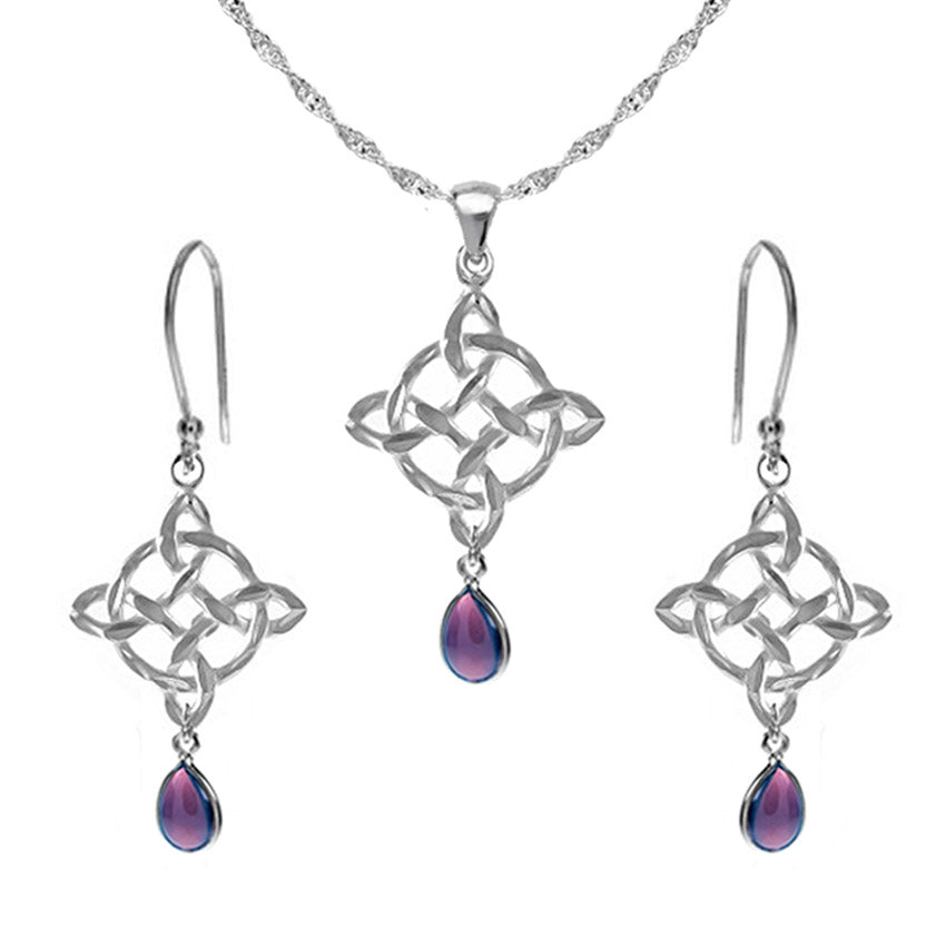 Celtic jewellery set amethyst teardrops