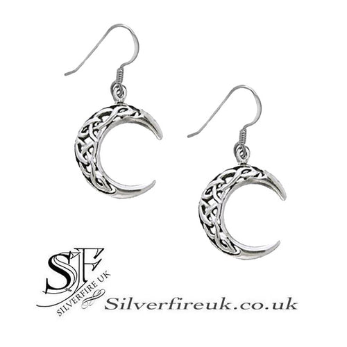 celtic moon earrings, crescent moons