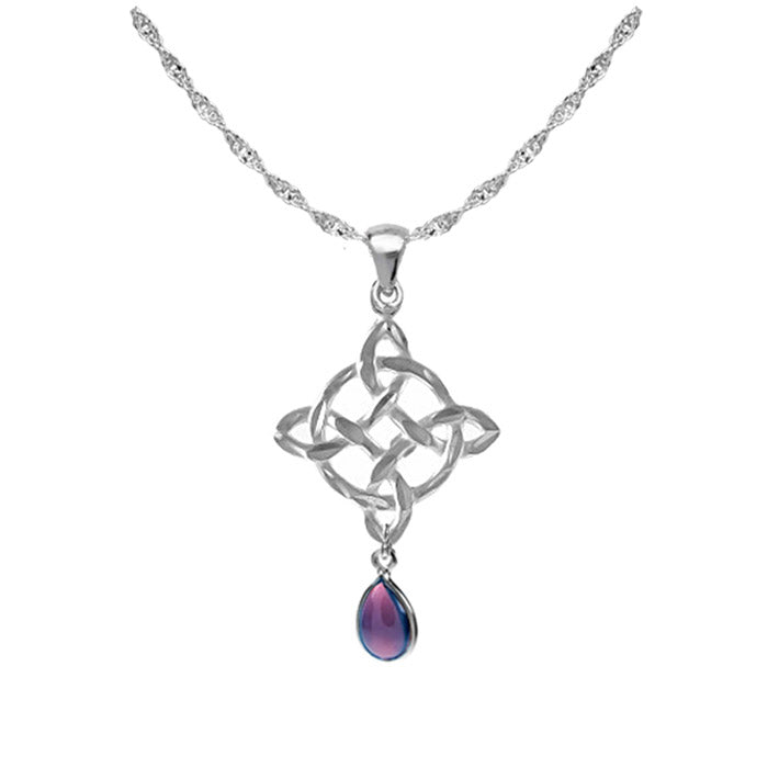 Celtic necklace amethyst teardrop