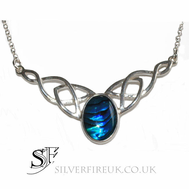 Celtic Necklace Blue Paua Shell