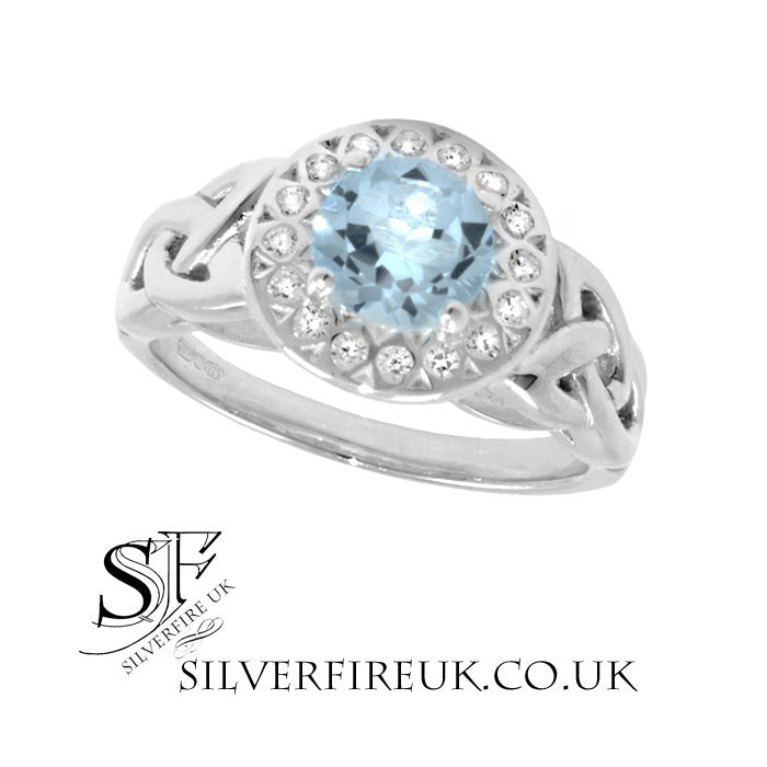 Trinity Celtic Ring With Blue Topaz & White Zirconia