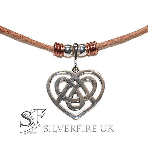 Celtic Heart Choker Necklace, Love Heart leather Choker