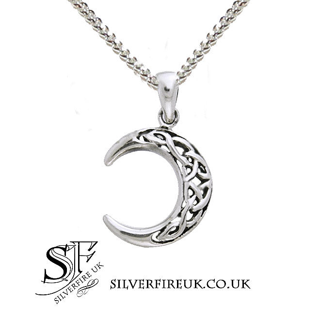 Crescent moon necklace with celtic knotwork small moon necklace small celtic crescent moon silver necklace aloadofball Image collections