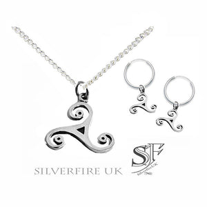 Ladies Wild Triskele Celtic Swirl  Jewellery SET (necklace & earrings)