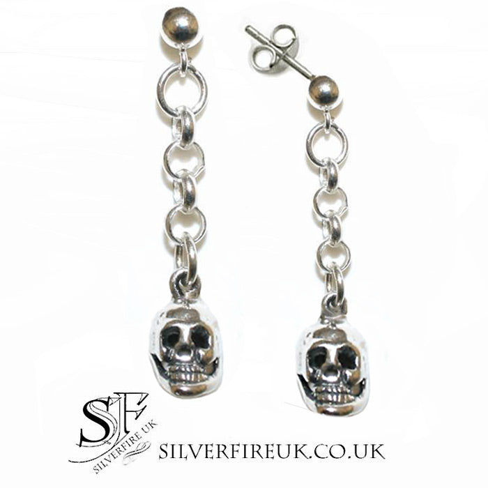 chained skull drop earrings