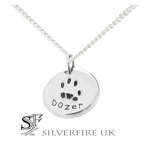 Pets Paw Print Silver Necklace